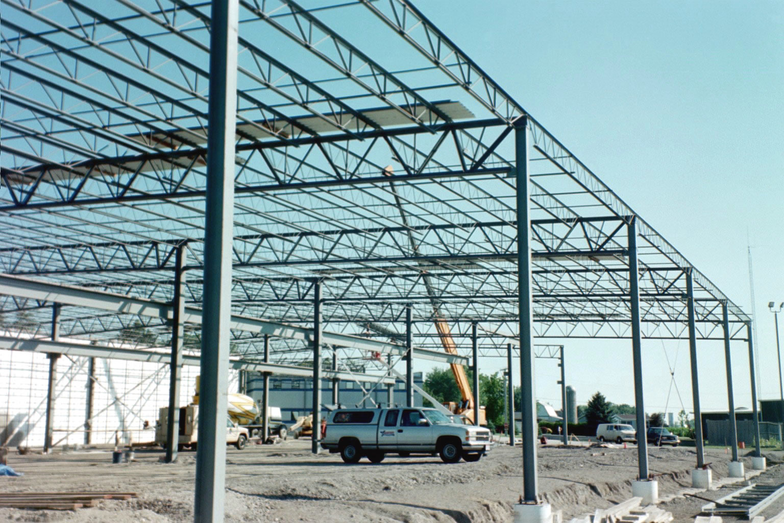 Pictures of a reinforcing steel frame for a solarcrete A frame builders